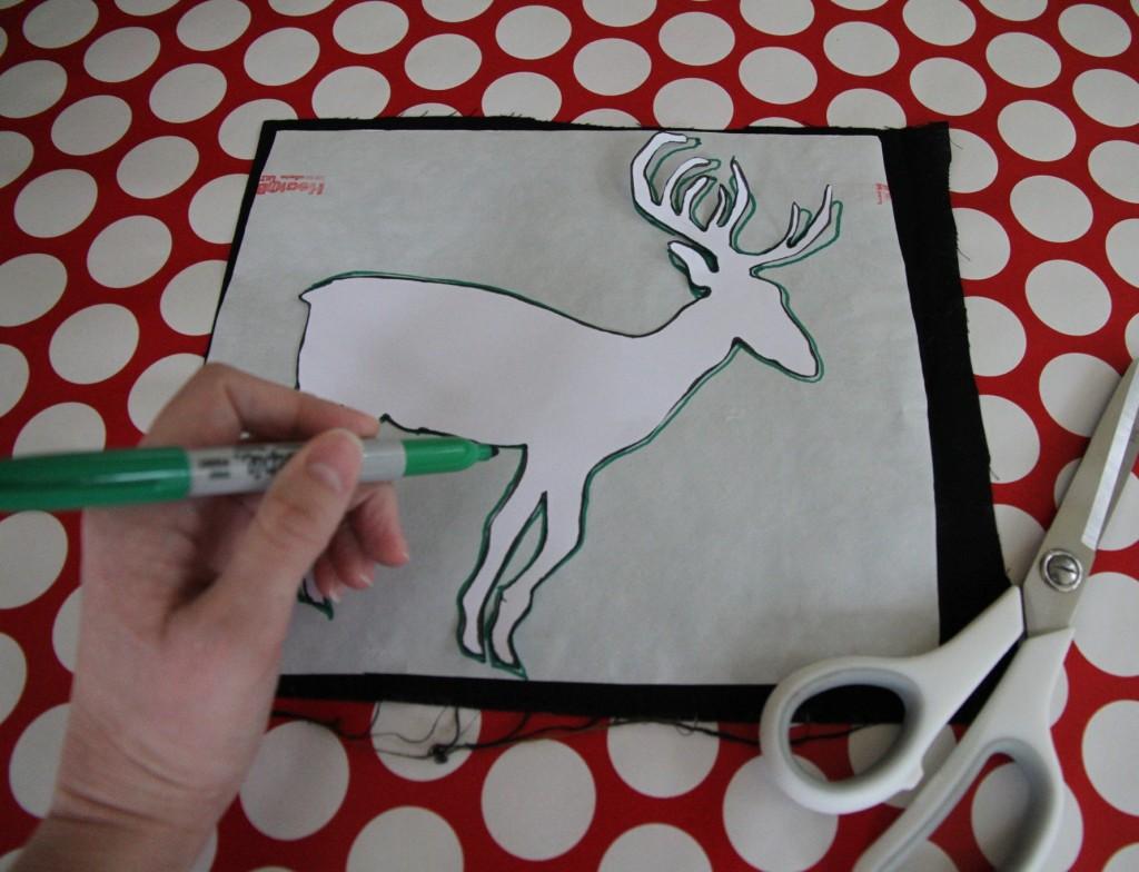Deer Silhouette Pillow - DIY Christmas Decoration - zevy joy