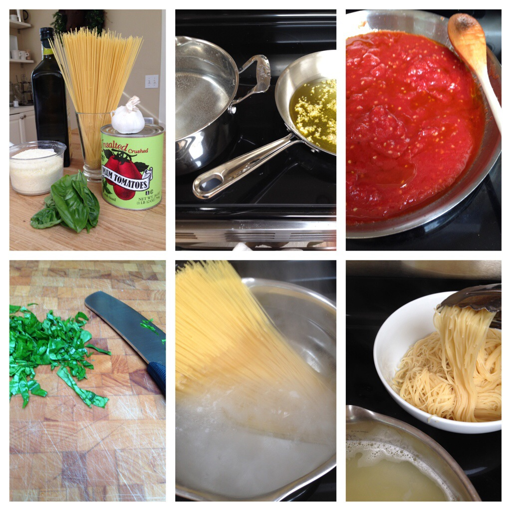The dry pasta, cooking the tomato sauce and then boiling the noodles.