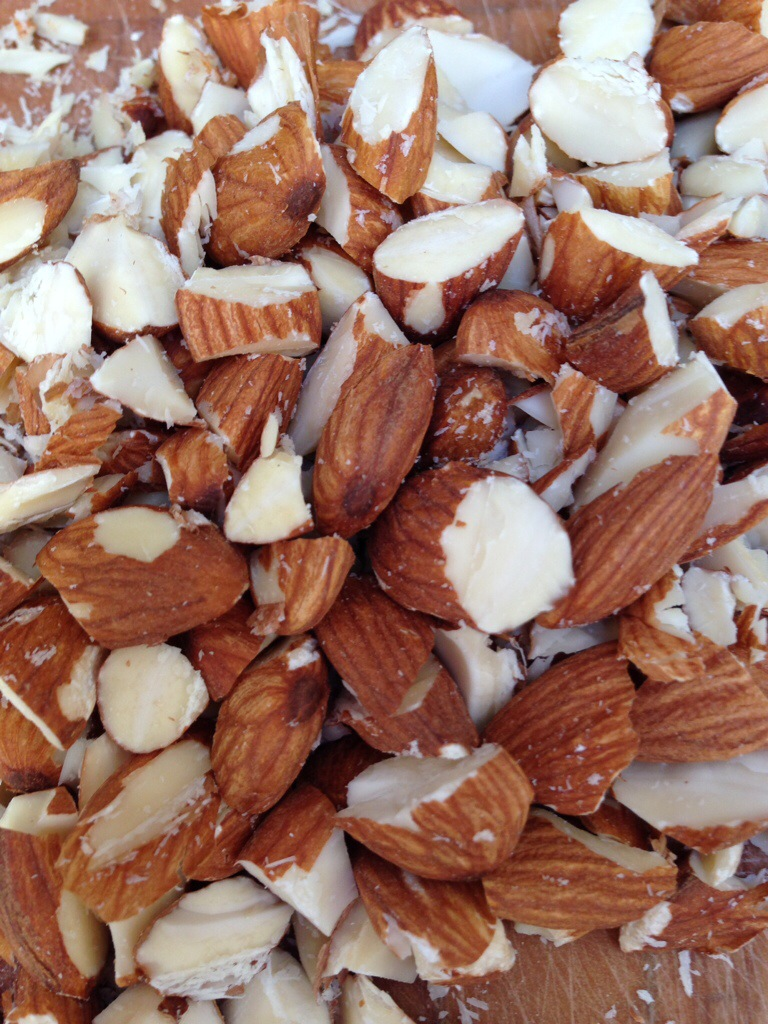 Chopped almonds.