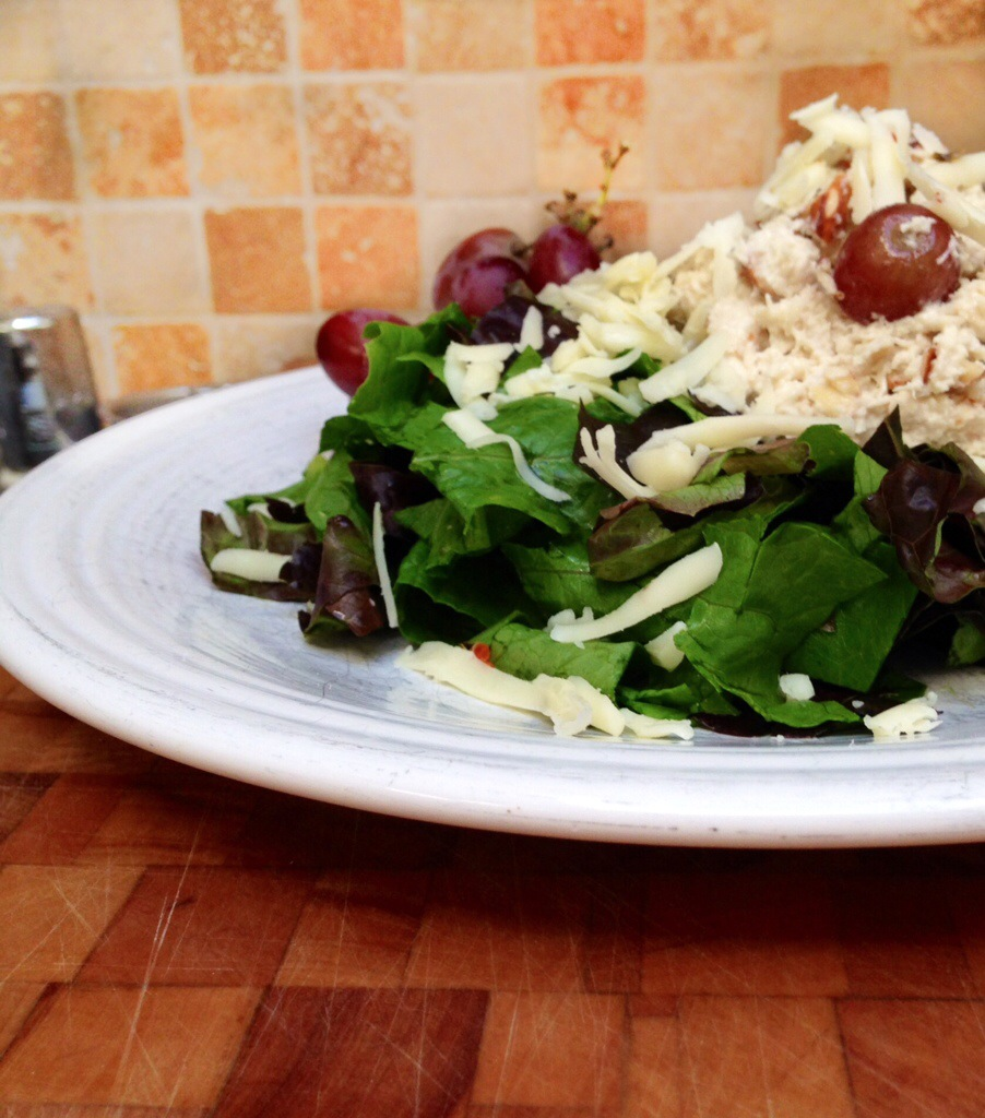 Plate with delicious chicken salad.