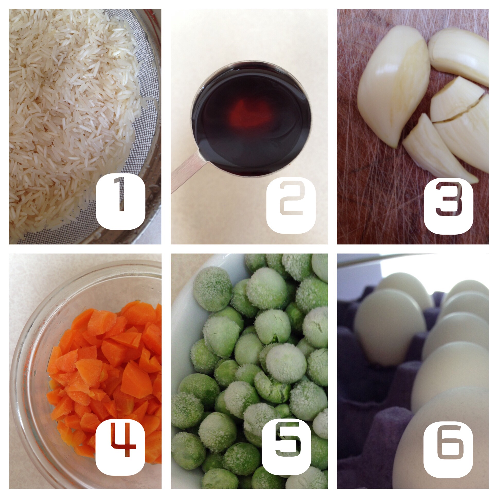 Rice, soya sauce, garlic, carrots, peas and eggs pictured for the simple fried rice.