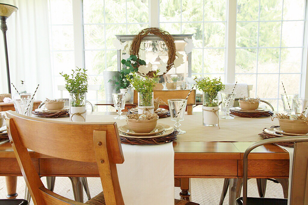 Decorating your table for easter on a quot dollar store