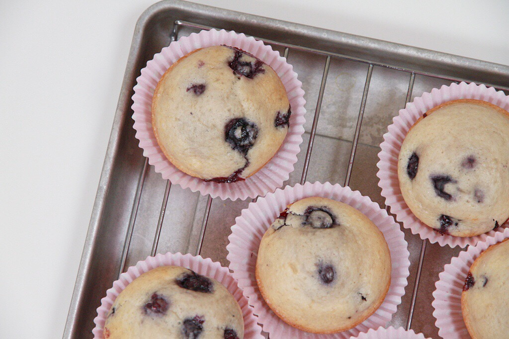 Baked blueberry muffins on a cooling rack.