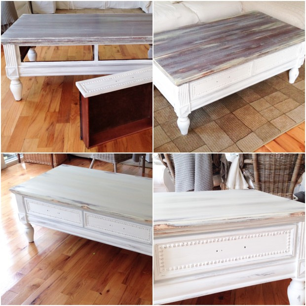 The coffee table half painted, with a weathered look, and the bottom picture is the table fully painted.