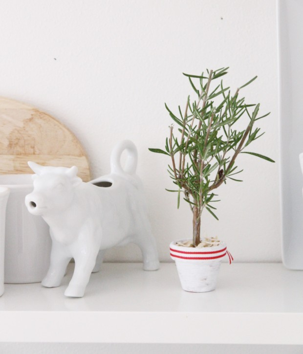 A little white cow figurine on the shelf in the kitchen.