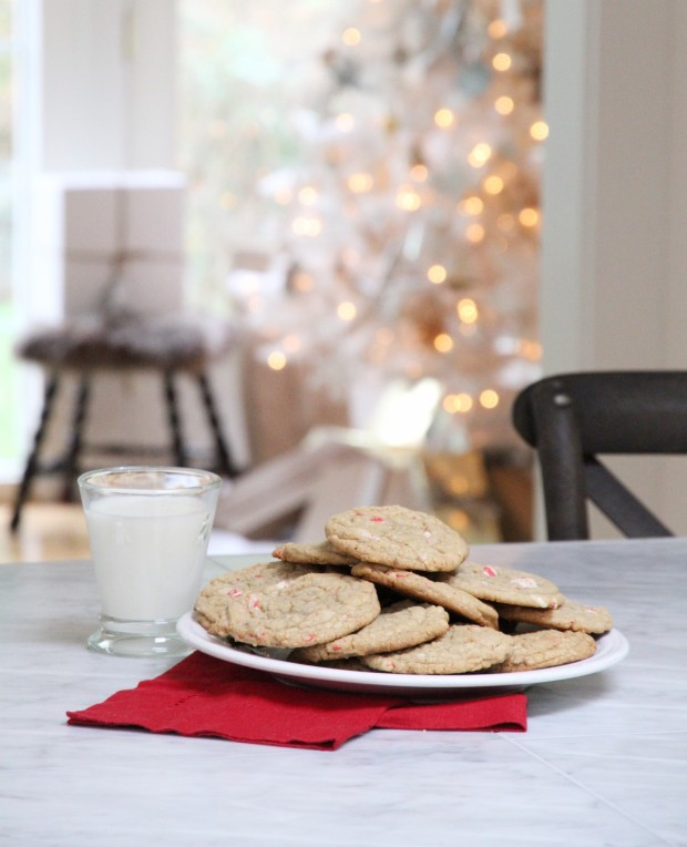 The cookies, milk and red napkin on the counter.