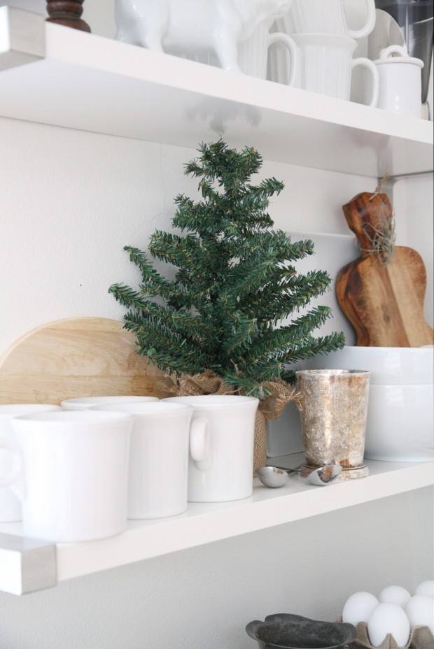 A mini evergreen tree on the open shelf in the kitchen.