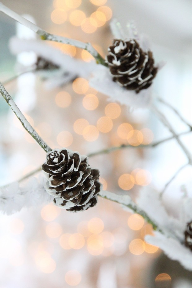 Pine cones with a bit of faux snow on them on decorative branches.