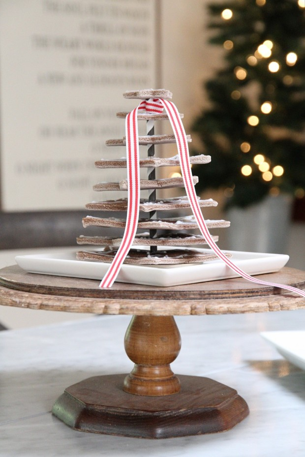 A side view of the cookie tree on a cake stand.
