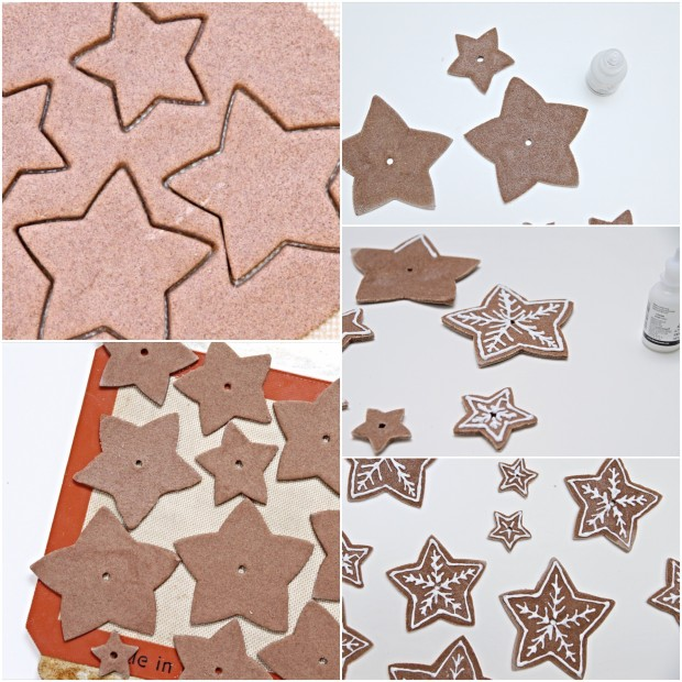 Making star cutouts of the dough.