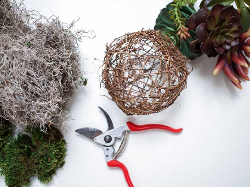 A grapevine sphere, shears and moss on the counter.