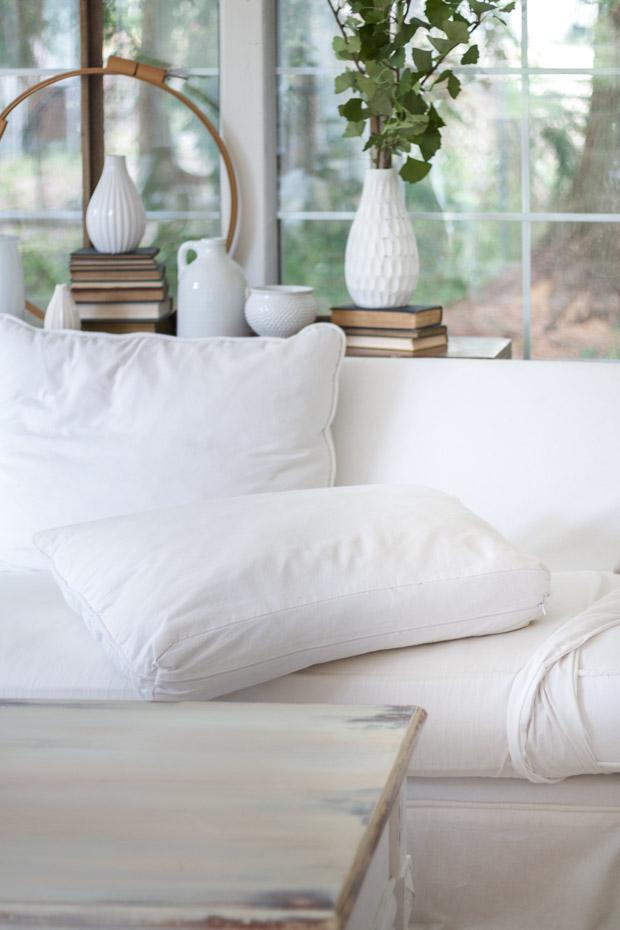 Slipcover on pillows.