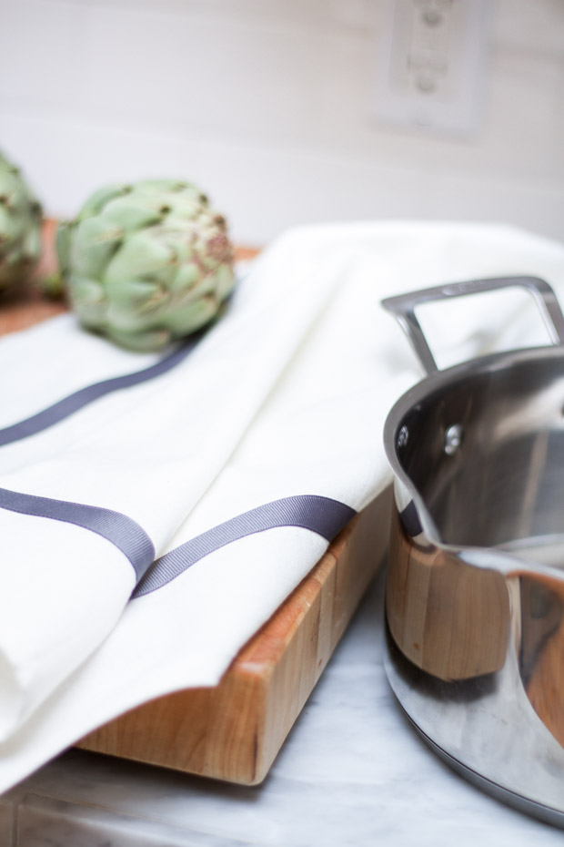 DIY Ribbon Trimmed Kitchen Towel 24