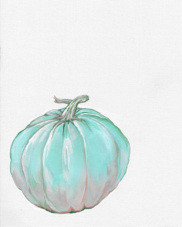 The illustrative royal blue pumpkin.