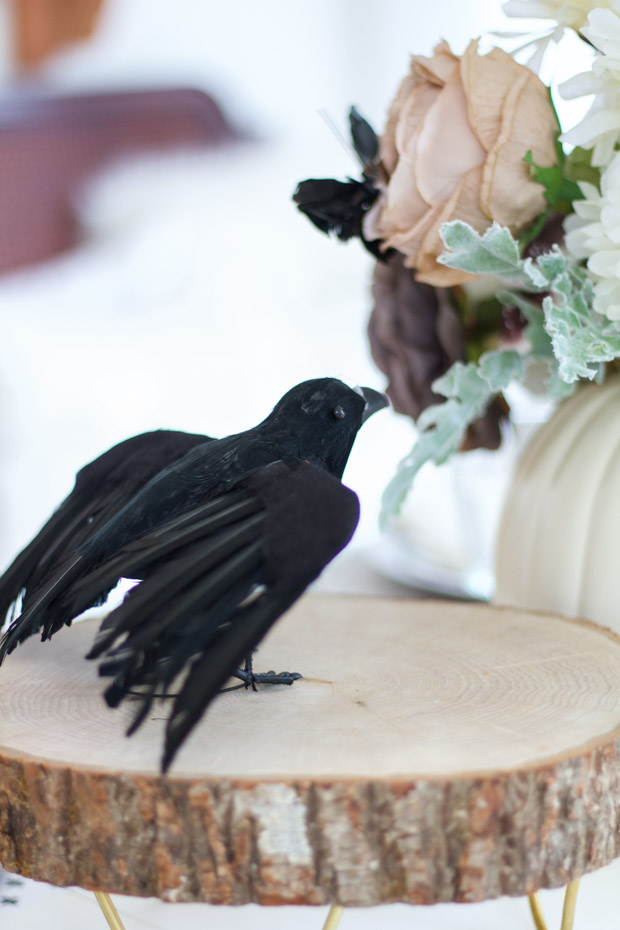 Black crow with the wings half spread on the table.