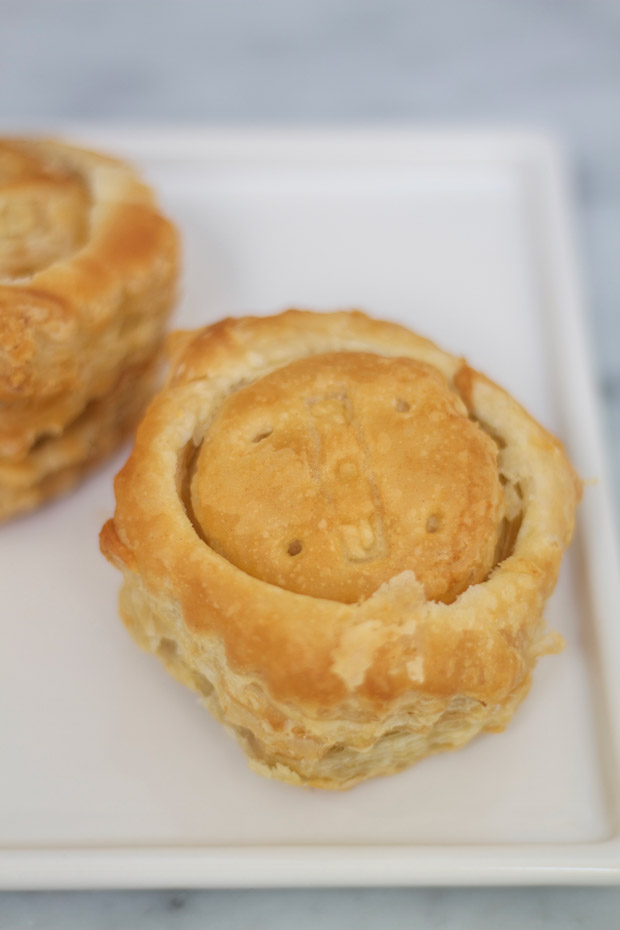 The baked puff pastry on the counter.