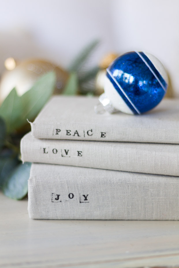 A blue and White Christmas ornament on top of the books.