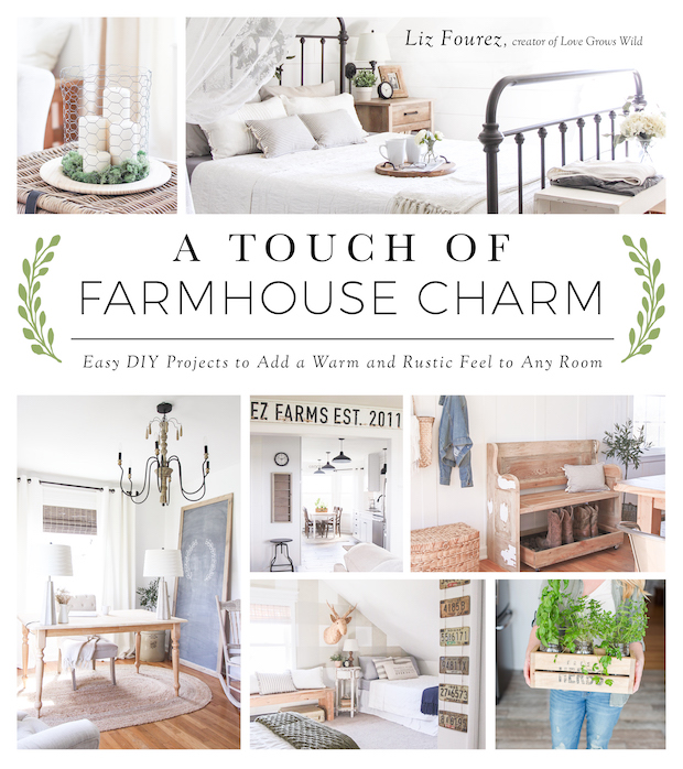 The farmhouse charm book cover.