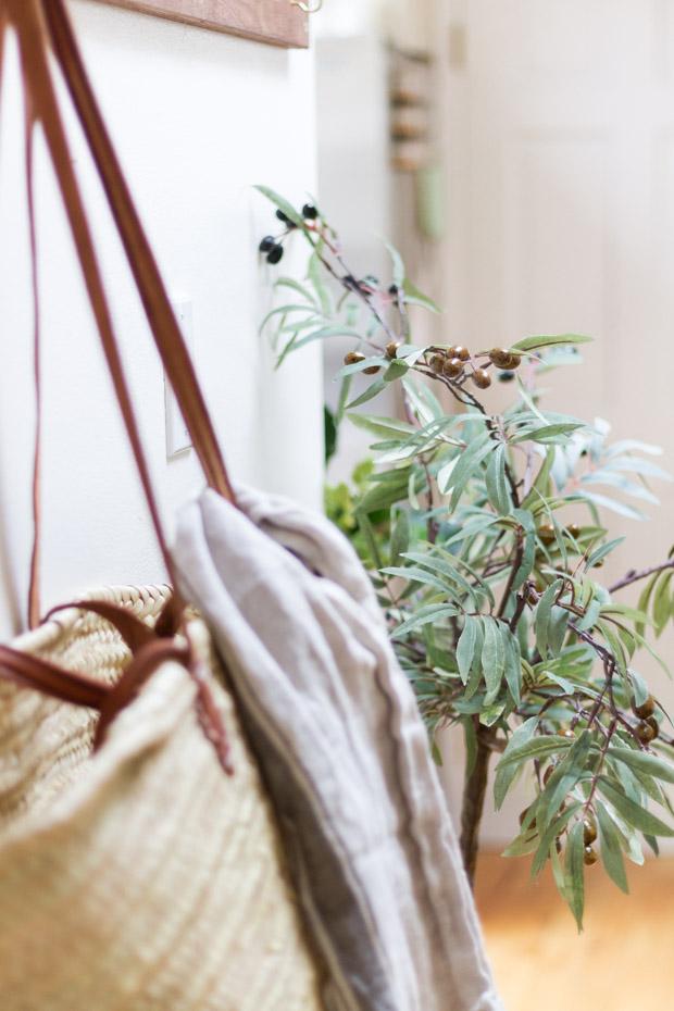 Carry bag hanging on hooks.