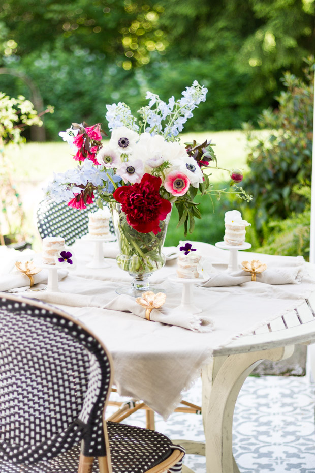 Outdoor table decorated for a garden party.