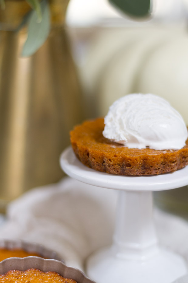 Up close view of the pumpkin tart with whip cream on top.