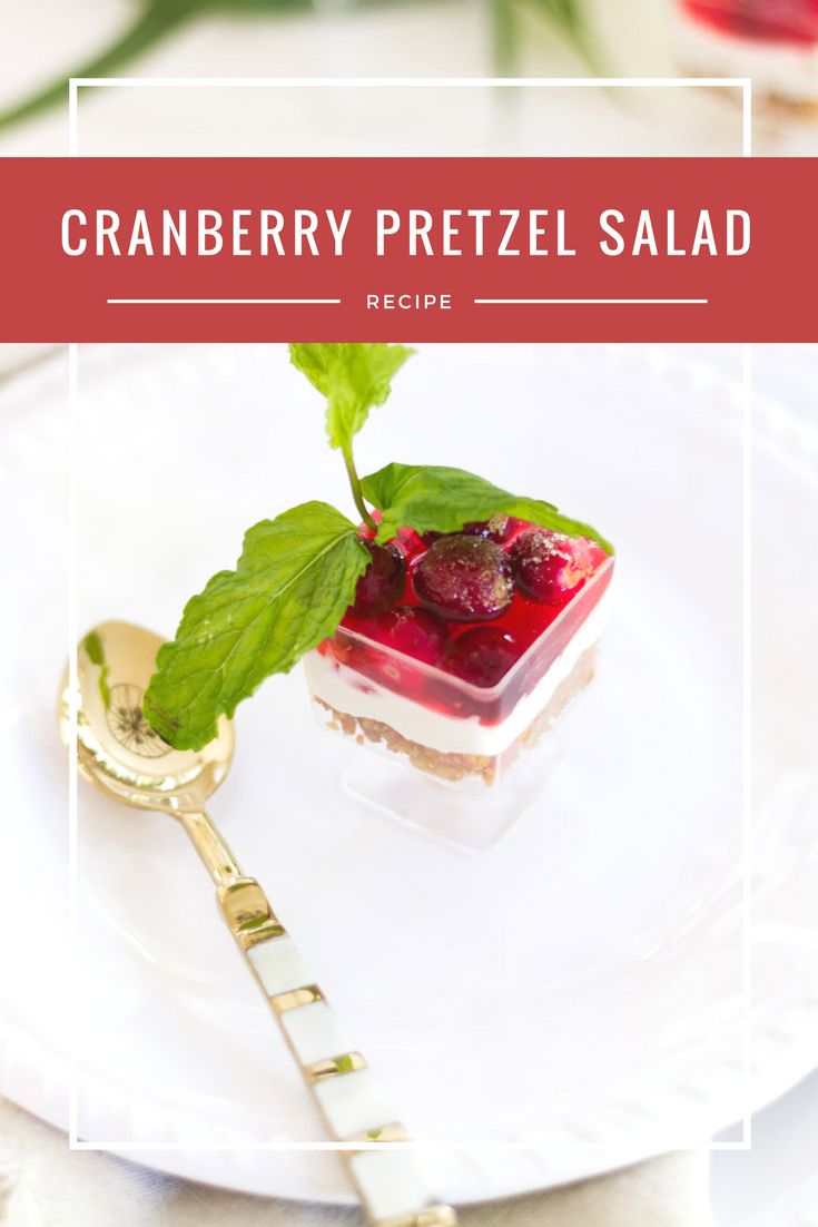 cranberry pretzel salad recipe poster.