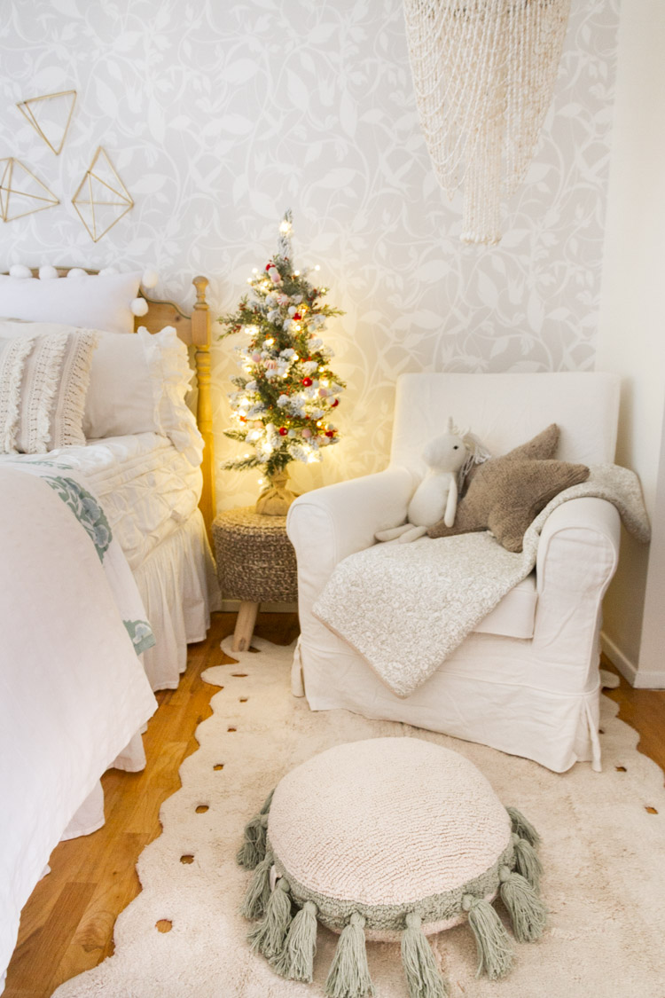 Little Girl's Bedroom Decorated For Christmas