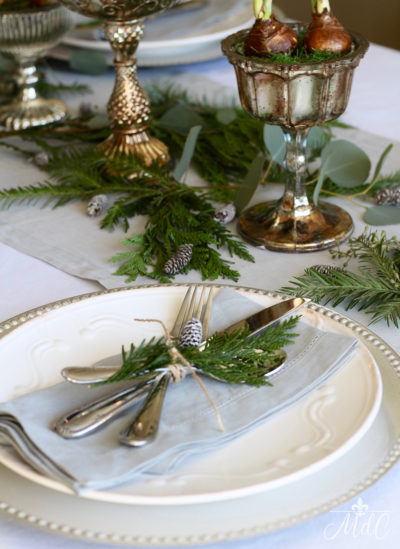 A white plate with cutlery tied together with greenery.