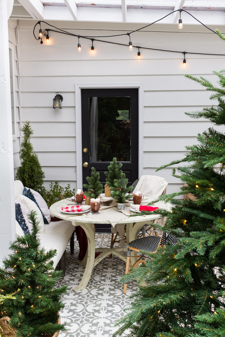 The simple outdoor table surrounded by evergreen trees and a string of lights on the patio.