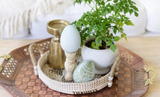 Spring Coffee Table Styling With A DIY Easter Pedestal Egg
