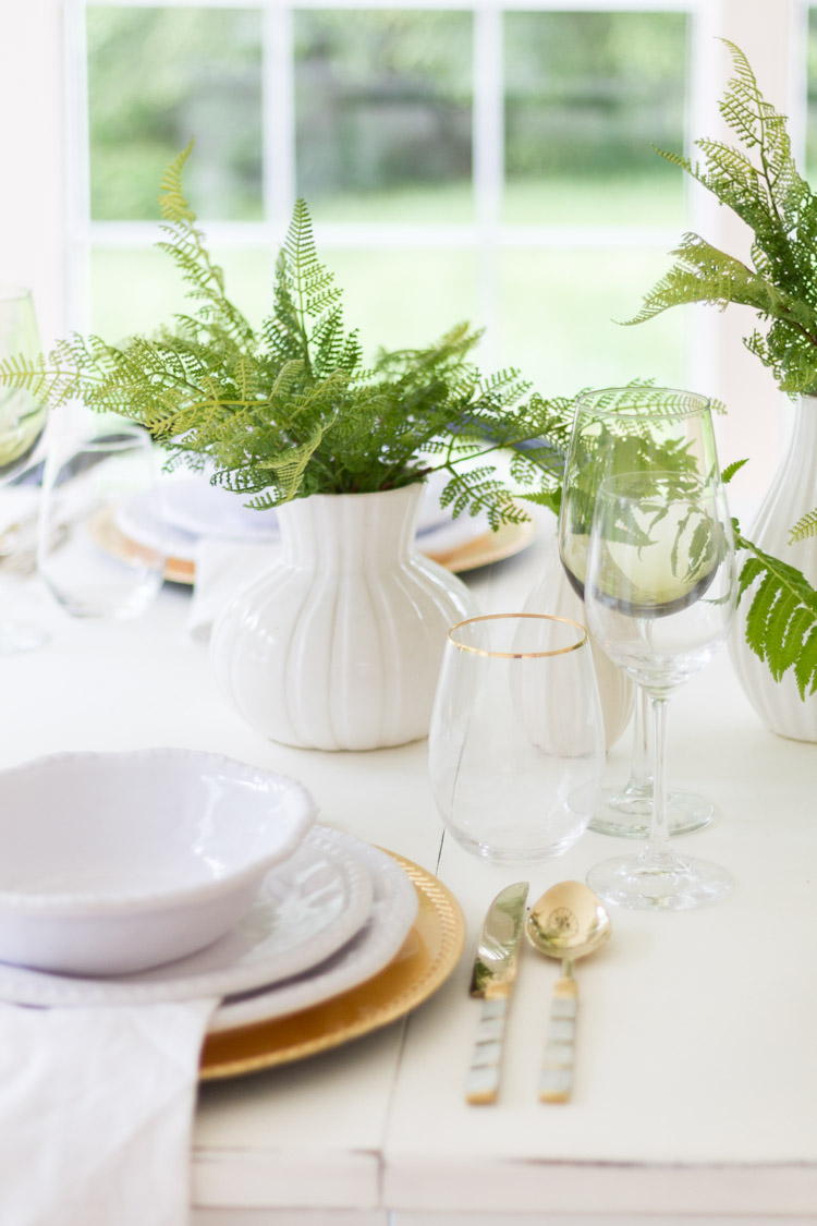 Styled + Set, A Gold and Green Tablescape for Summer