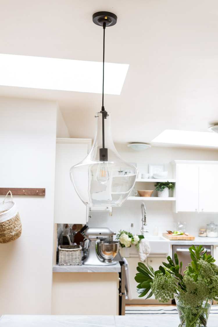 Clear pendant light.