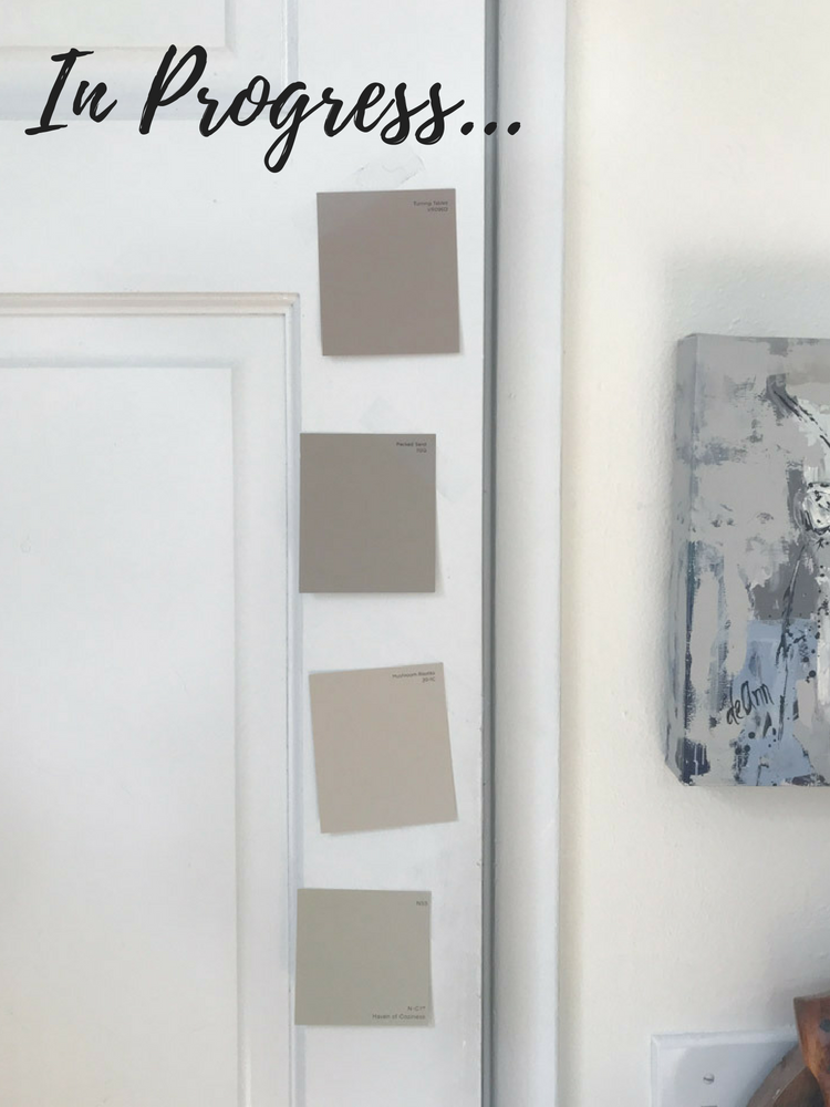 Paint swatches for kitchen door.