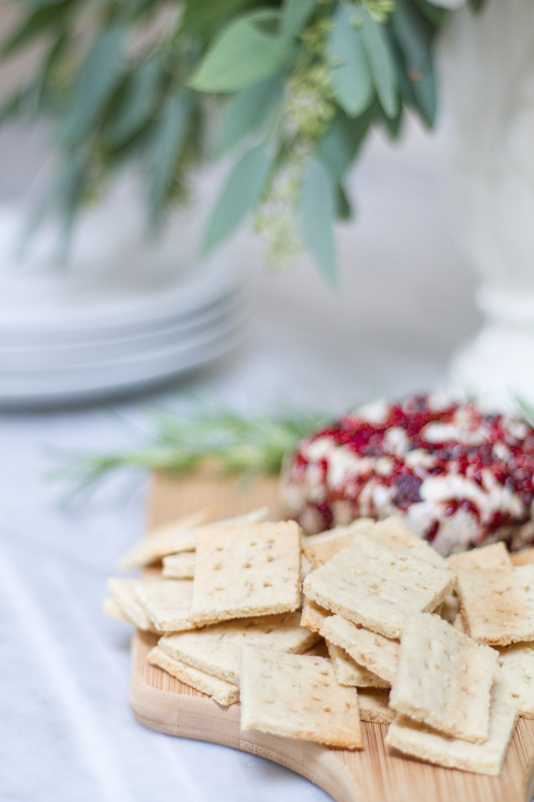 Almond crackers baked on the plate.