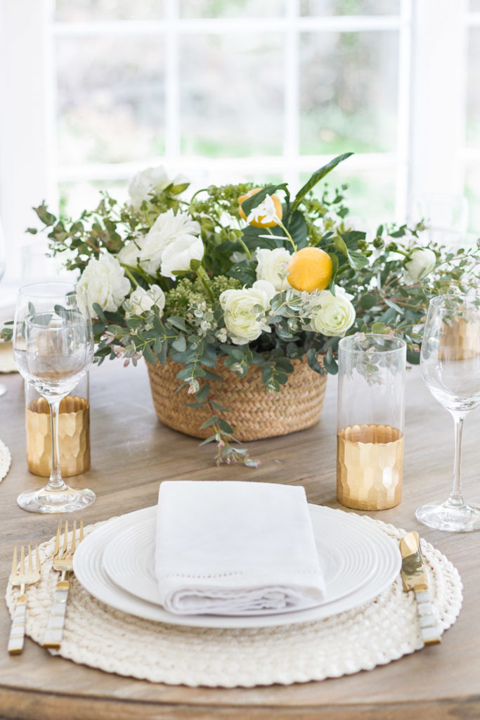 A Mother's Day Table with Ranunculus and lemons