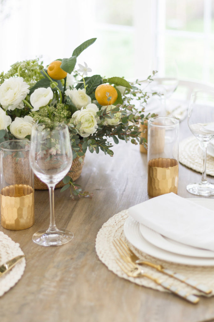 A mother's day tablescape with and lemons