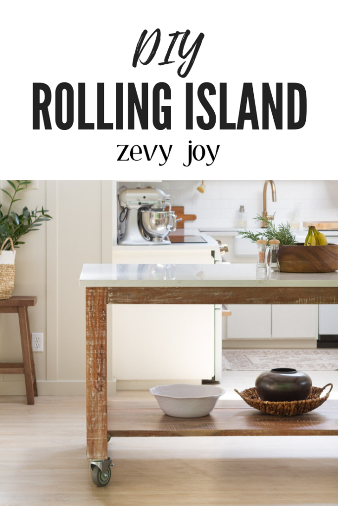 DIY Rolling Cart Island Made From A Dining Table