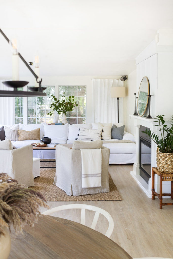 Neutral Touches of Fall in the Family Room