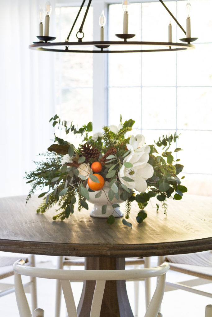 Holiday Centerpiece with Oranges and Evergreens 19
