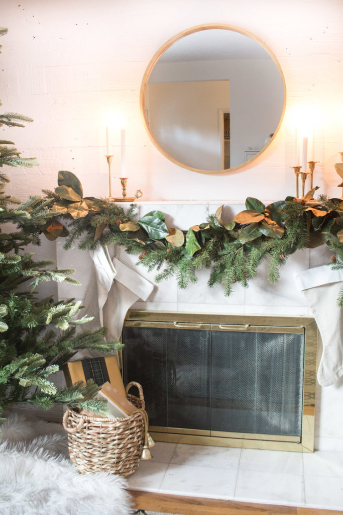 Simple Mantel With Magnolia Greenery 14