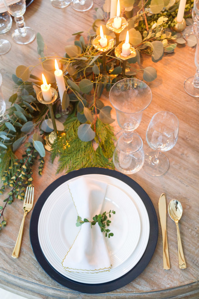 Candlelit Christmas Table Setting