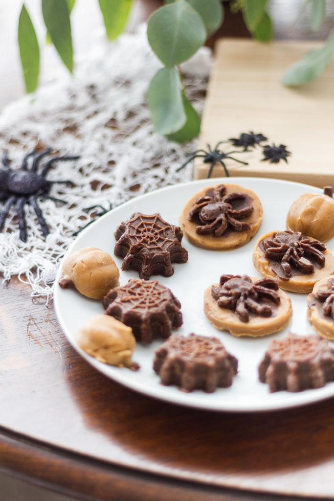 Chocolate Fudge Halloween Spider and Pumpkin Treats