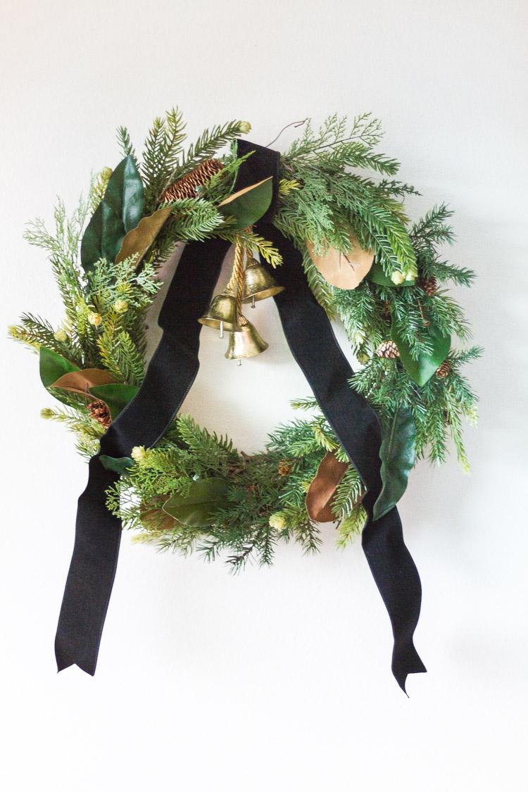 Diy Holiday Wreath Multi Greenery With Bells Zevy Joy