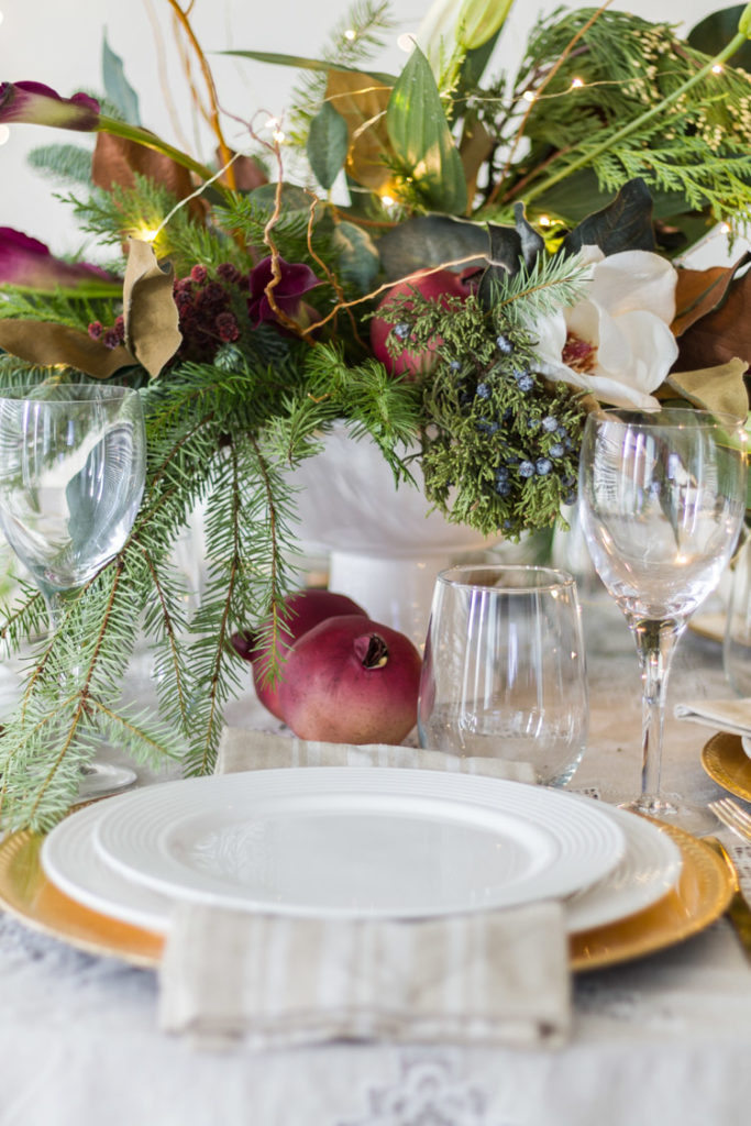 Elegant-Christmas-Entertaining-Evergreen-Arrangement-Tablescape