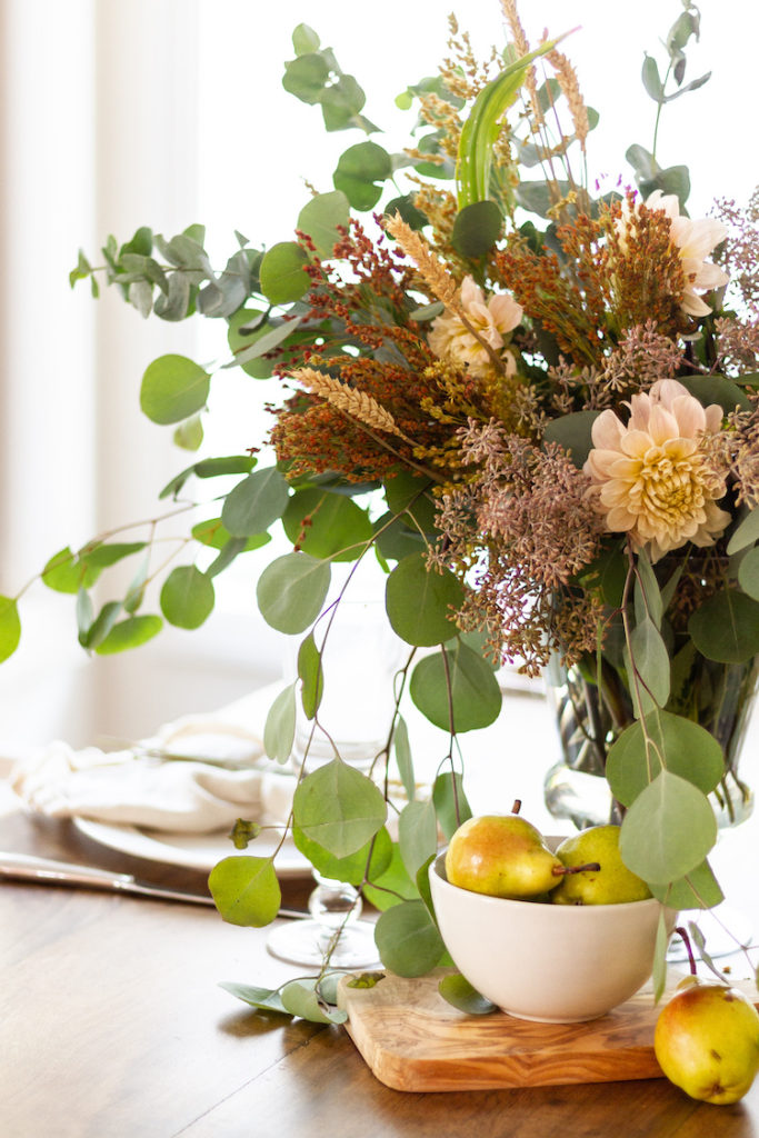 Fall Floral Centerpiece with Pears
