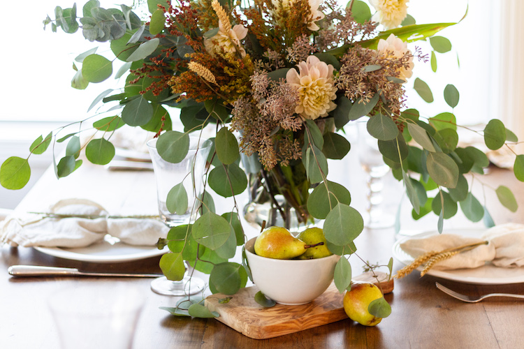 Fall Floral and Pear Centerpiece