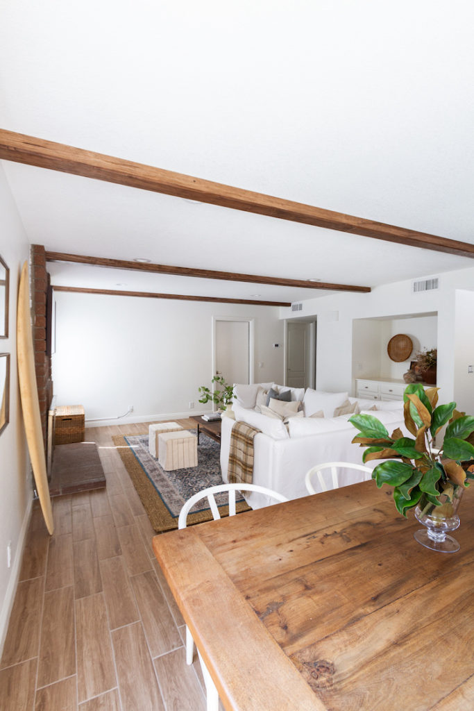 Updated Rustic and Warm Wood Beams in the Family Room