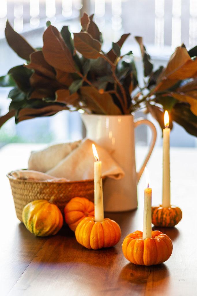 DIY Pumpkin Candle Holders